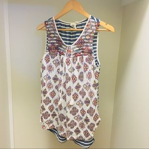 Anthropologie embroidered long tank